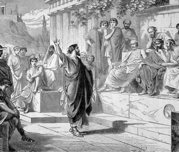 El ágora, centro de las discusiones políticas en la antigua Grecia
