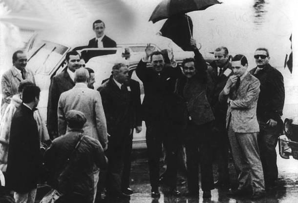 Perón en su regreso del exilio el 20 de junio de 1973